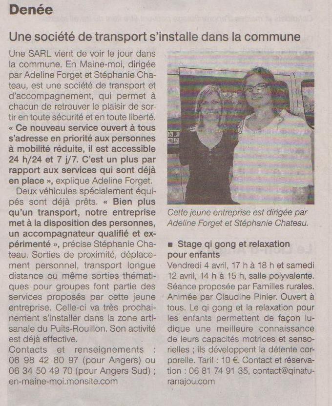 Article paru dans le Ouest France